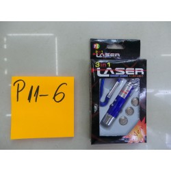 P11-06 LANTERNA 3 IN 1 1 LASER +2 LED IN CUTIE